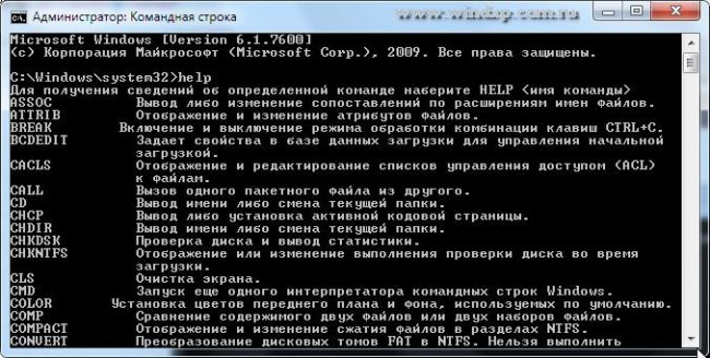 Командная строка в Windows 7